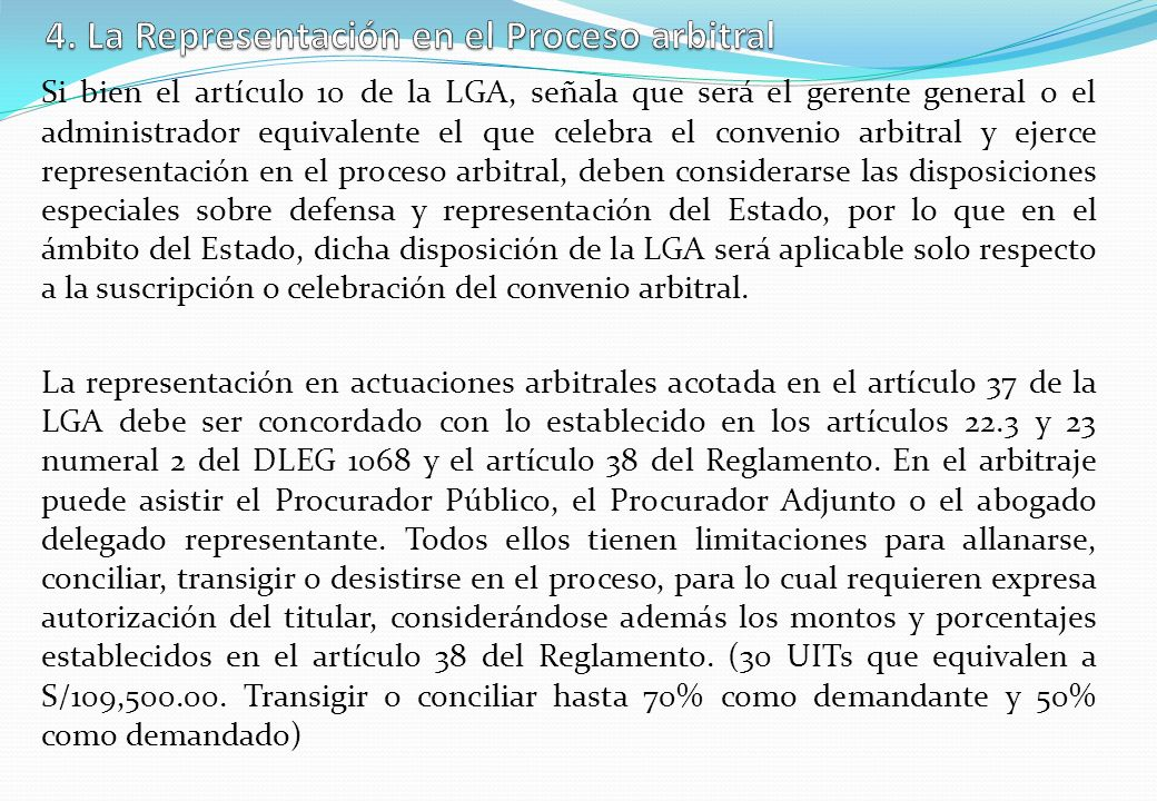 4. La Representación en el Proceso arbitral