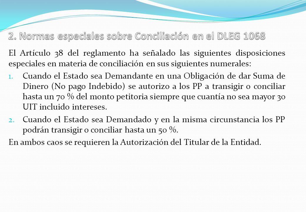 2. Normas especiales sobre Conciliación en el DLEG 1068
