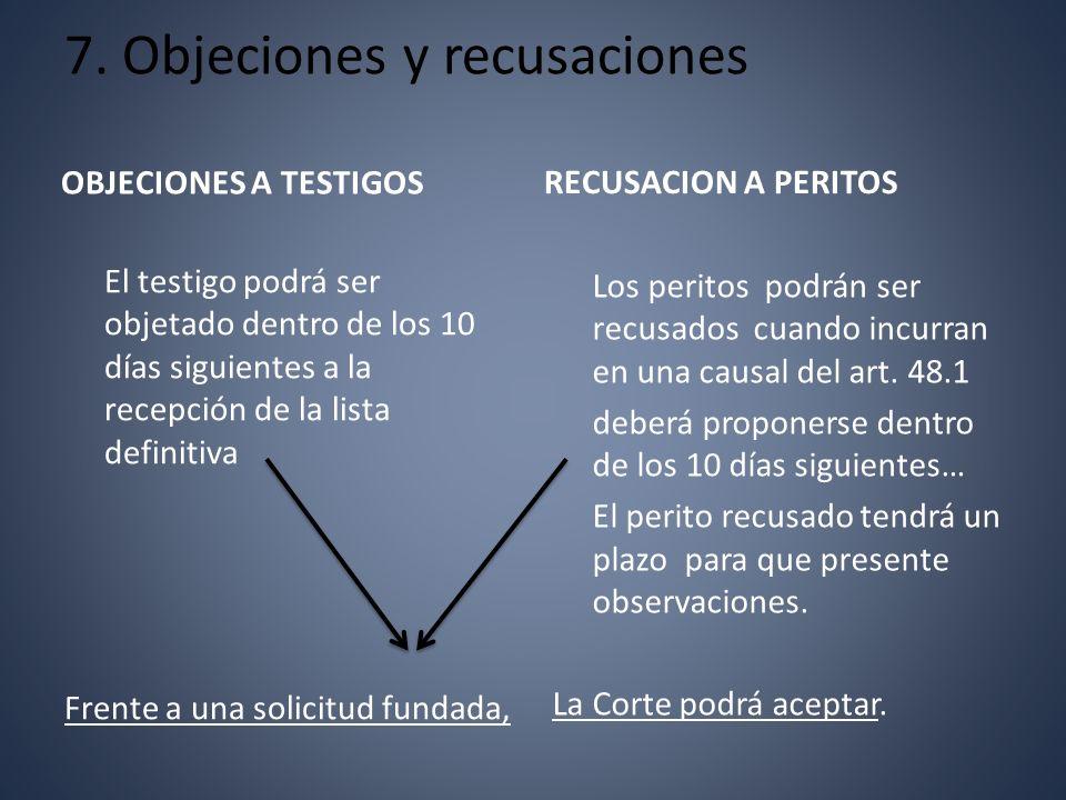 7. Objeciones y recusaciones