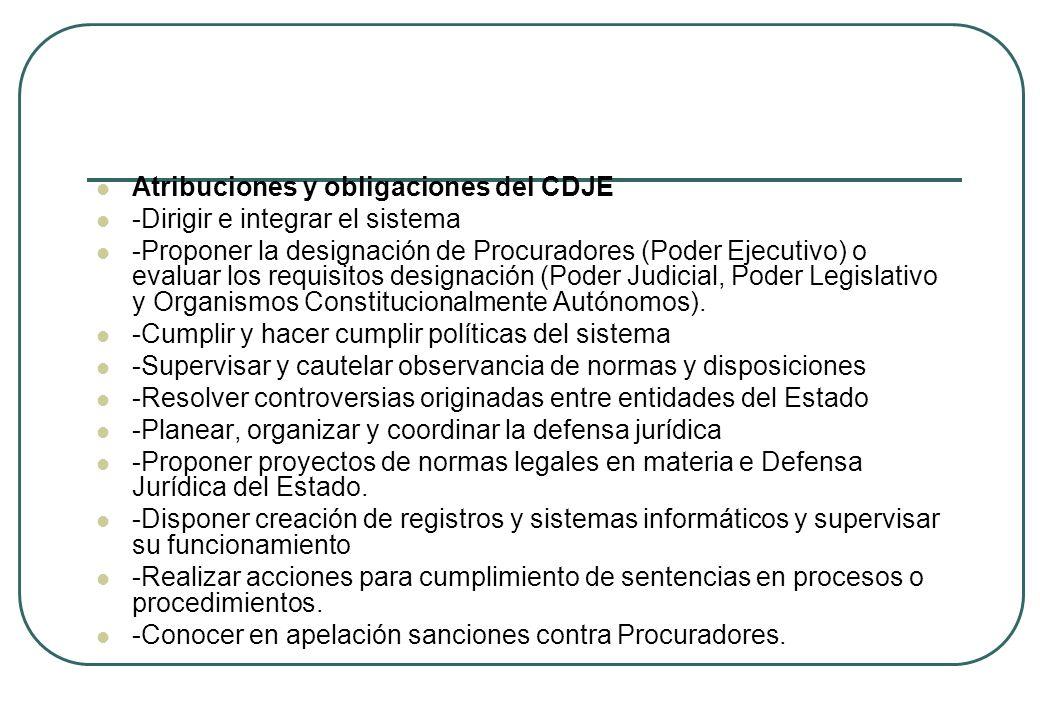 Atribuciones y obligaciones del CDJE