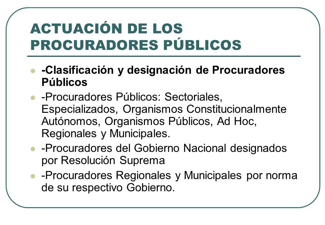 ACTUACIÓN DE LOS PROCURADORES PÚBLICOS