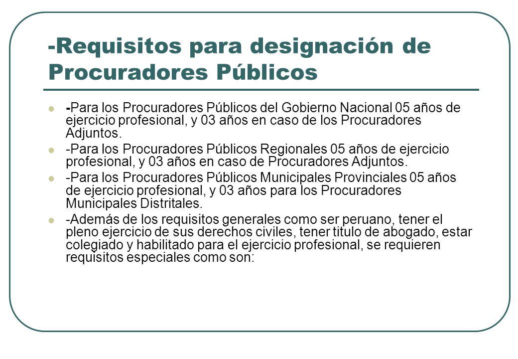 -Requisitos para designación de Procuradores Públicos