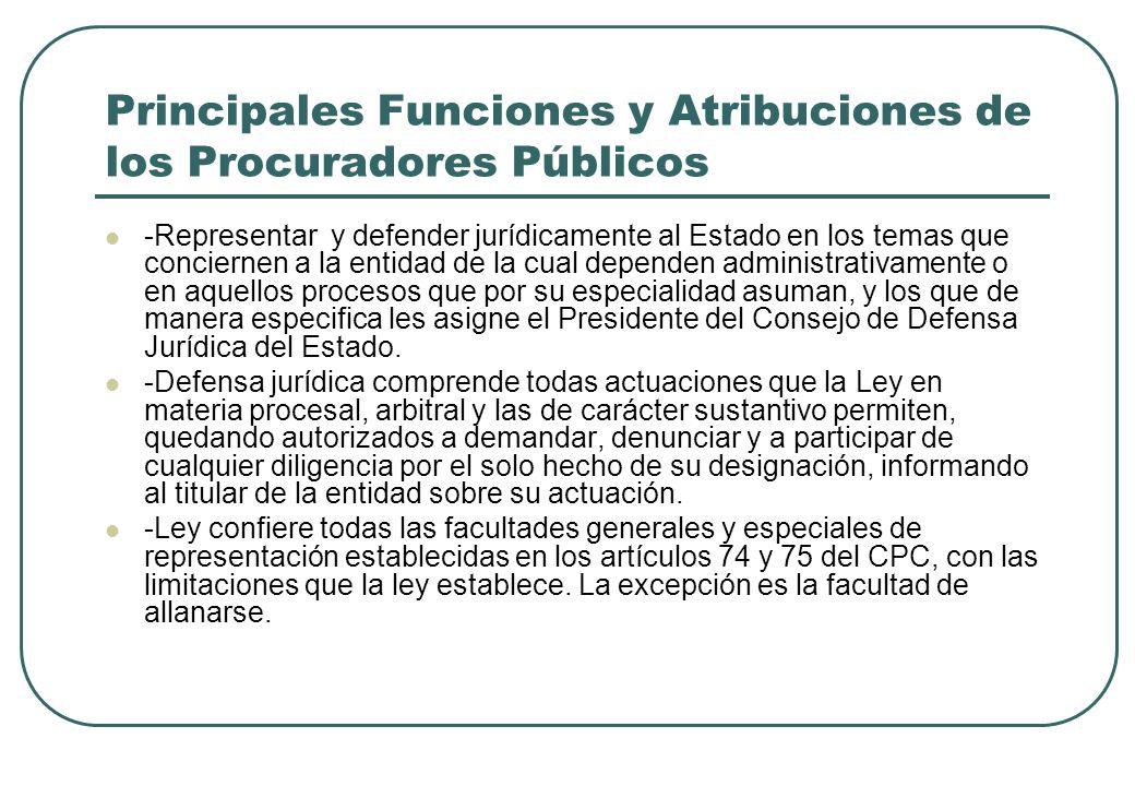 Principales Funciones y Atribuciones de los Procuradores Públicos