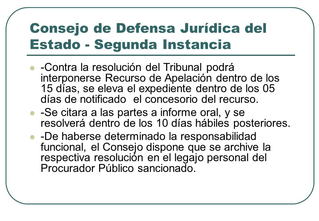 Consejo de Defensa Jurídica del Estado - Segunda Instancia