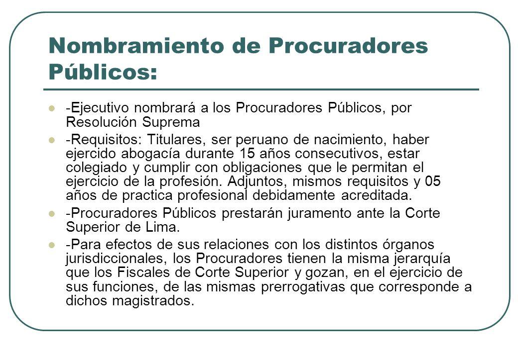 Nombramiento de Procuradores Públicos: