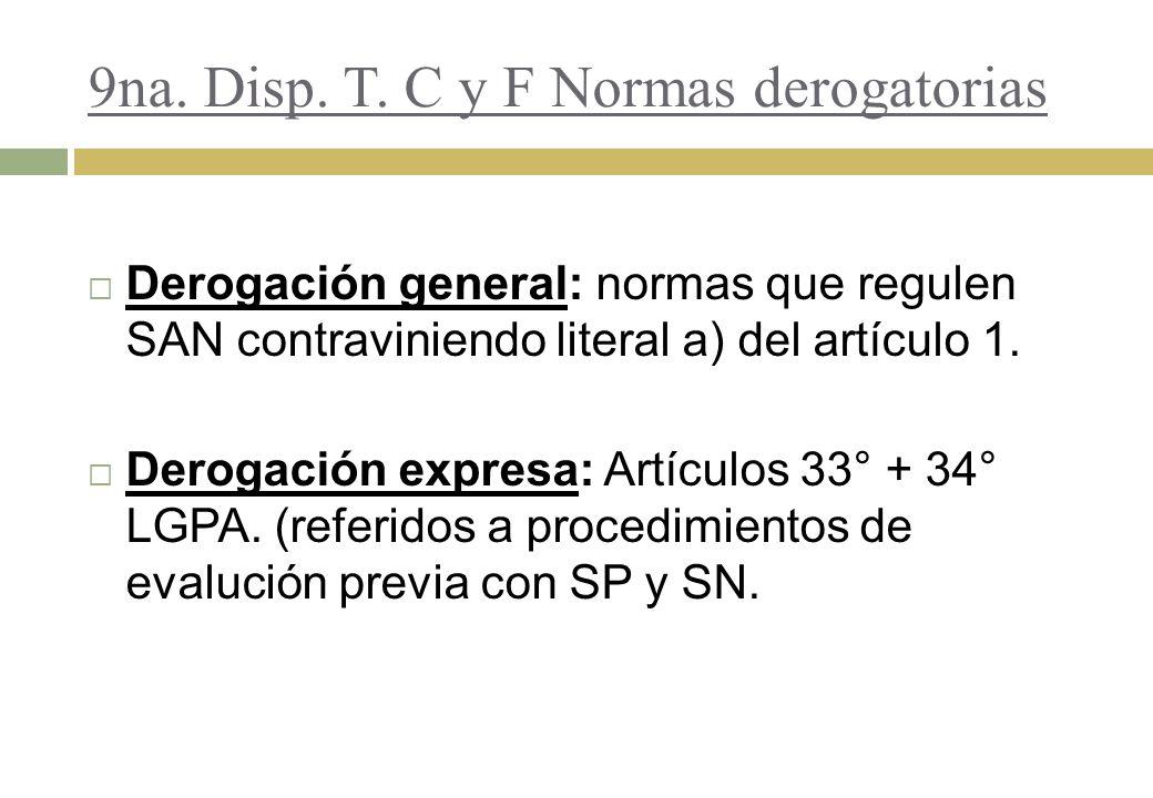 9na. Disp. T. C y F Normas derogatorias