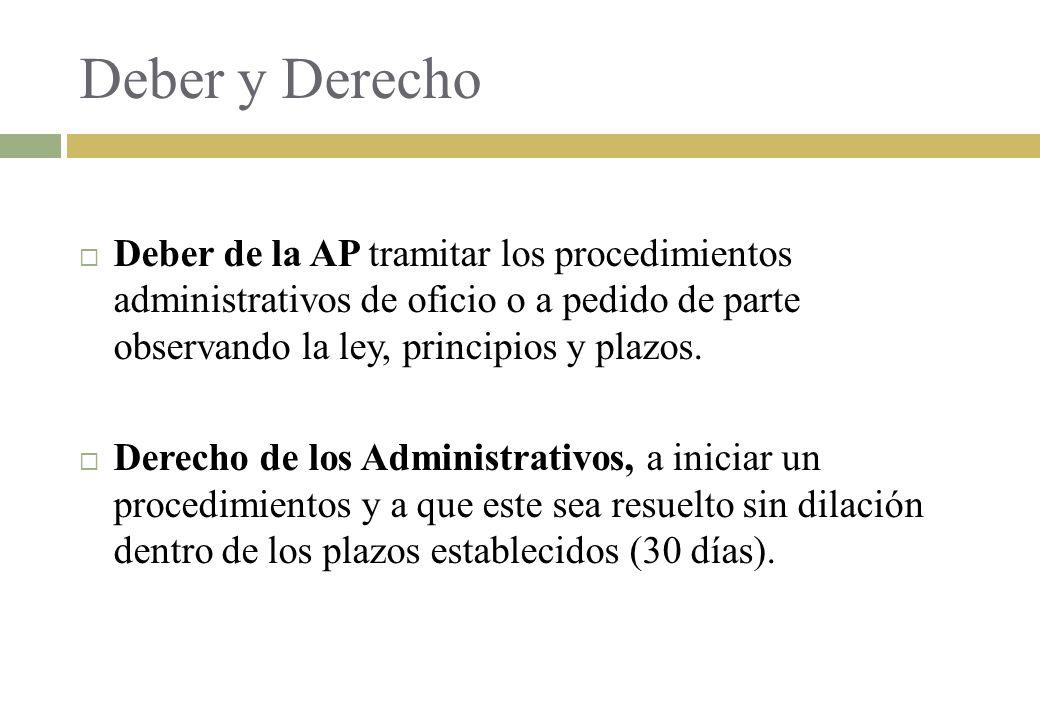 Deber y Derecho Deber de la AP tramitar los procedimientos administrativos de oficio o a pedido de parte observando la ley, principios y plazos.