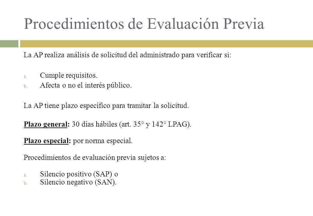 Procedimientos de Evaluación Previa
