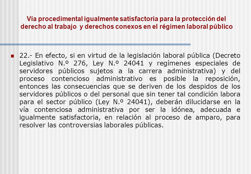 Vía procedimental igualmente satisfactoria para la protección del derecho al trabajo y derechos conexos en el régimen laboral público
