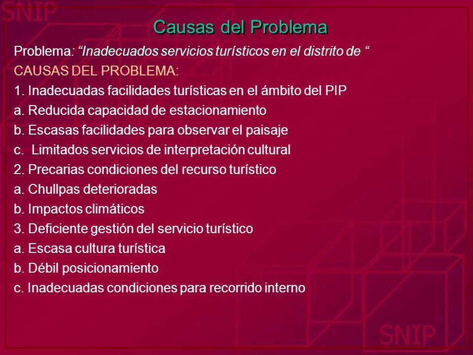 Causas del Problema Problema: Inadecuados servicios turísticos en el distrito de CAUSAS DEL PROBLEMA: