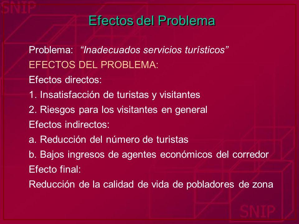 Efectos del Problema Problema: Inadecuados servicios turísticos