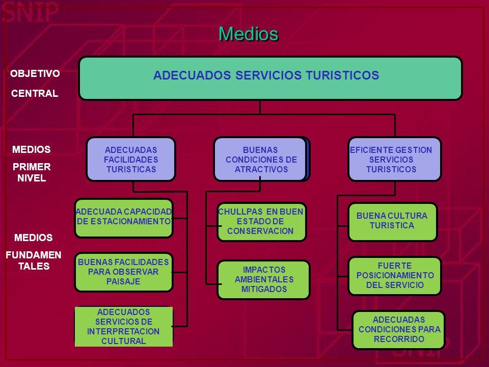 Medios ADECUADOS SERVICIOS TURISTICOS OBJETIVO CENTRAL MEDIOS