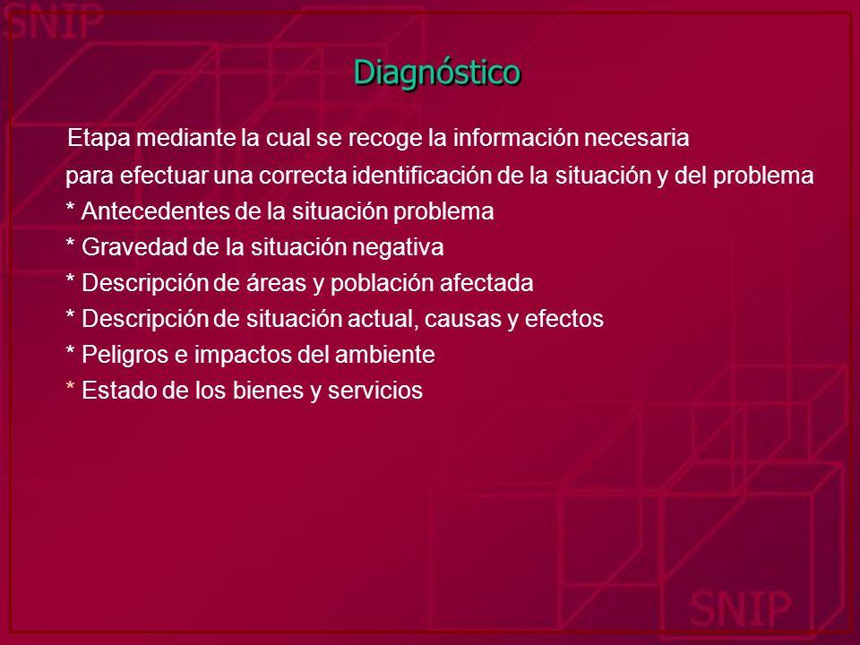 Diagnóstico Etapa mediante la cual se recoge la información necesaria