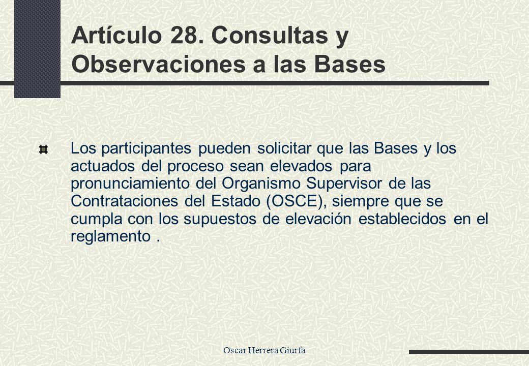 Artículo 28. Consultas y Observaciones a las Bases