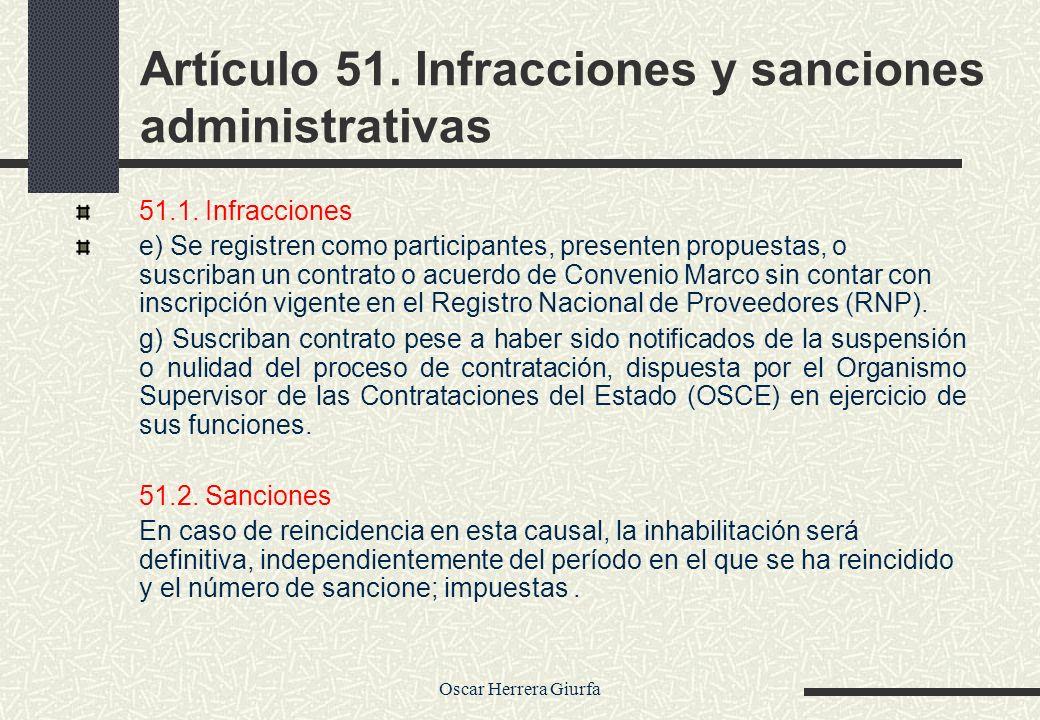 Artículo 51. Infracciones y sanciones administrativas