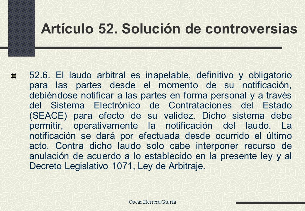 Artículo 52. Solución de controversias