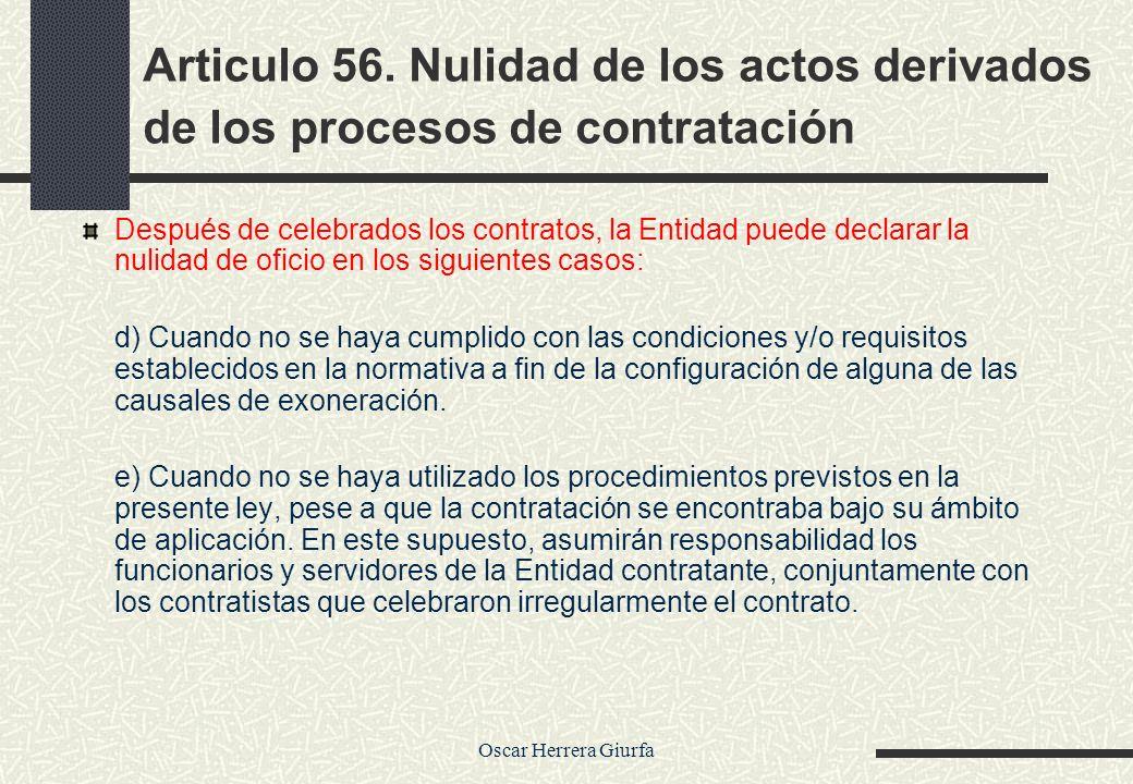 Articulo 56. Nulidad de los actos derivados de los procesos de contratación