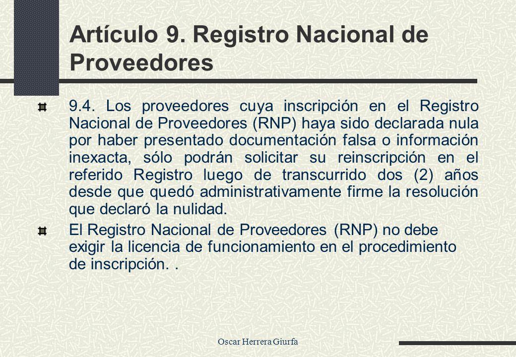 Artículo 9. Registro Nacional de Proveedores
