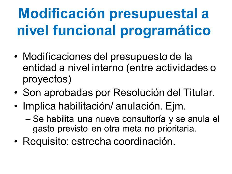 Modificación presupuestal a nivel funcional programático