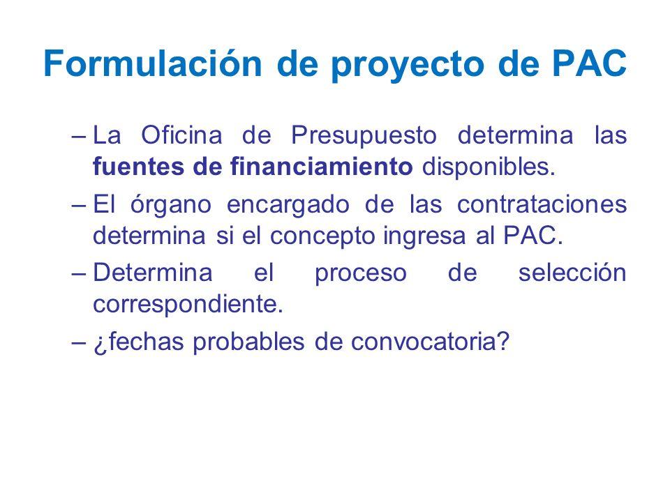 Formulación de proyecto de PAC