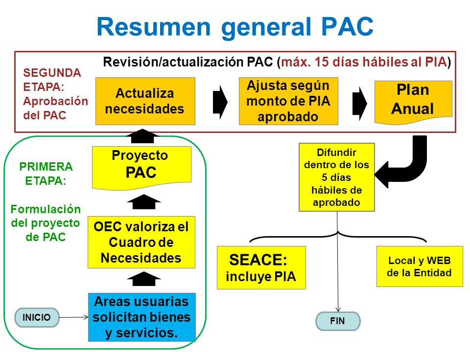 Resumen general PAC Plan Anual PAC SEACE: