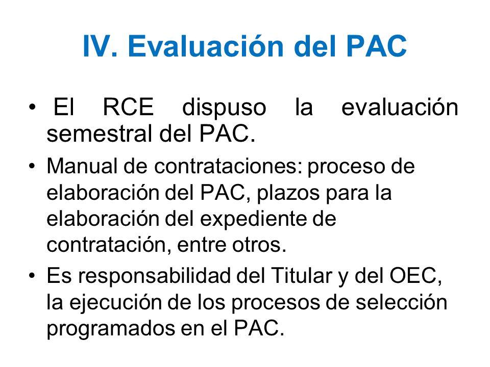 IV. Evaluación del PAC El RCE dispuso la evaluación semestral del PAC.