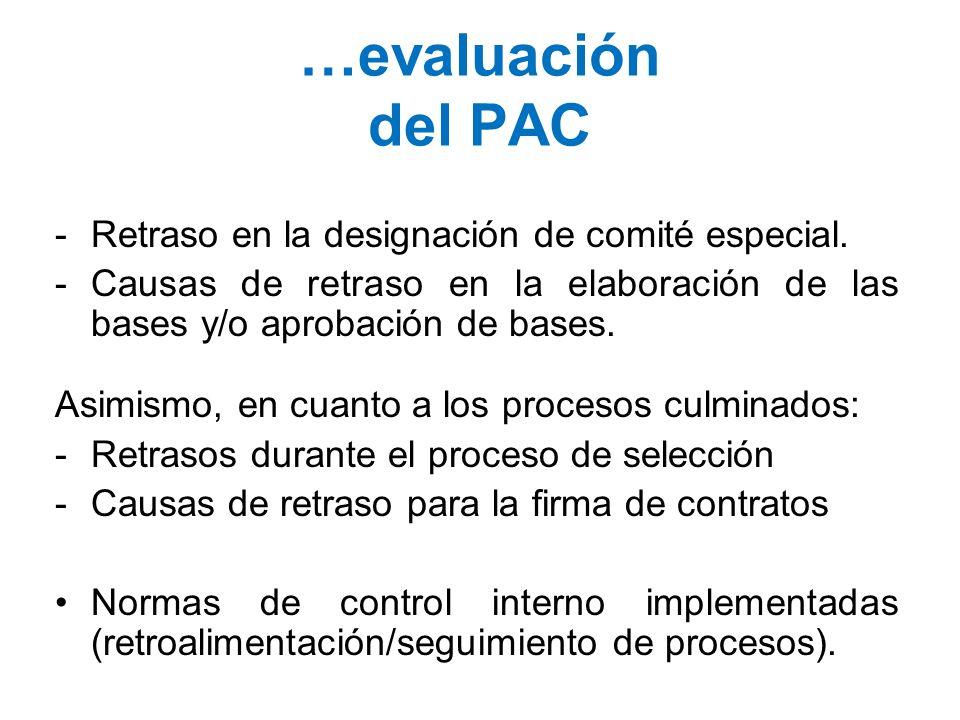 …evaluación del PAC Retraso en la designación de comité especial.