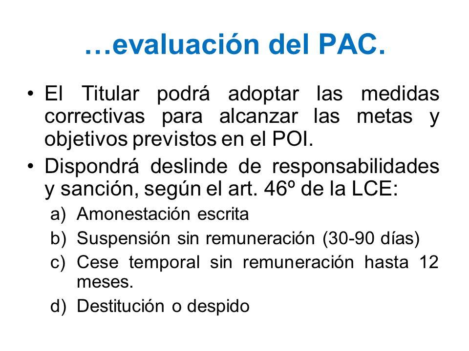 …evaluación del PAC.El Titular podrá adoptar las medidas correctivas para alcanzar las metas y objetivos previstos en el POI.