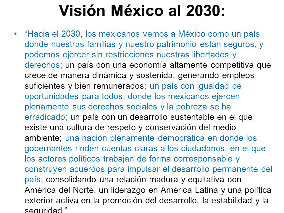 Visión México al 2030: