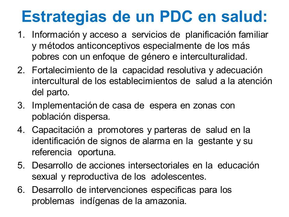 Estrategias de un PDC en salud: