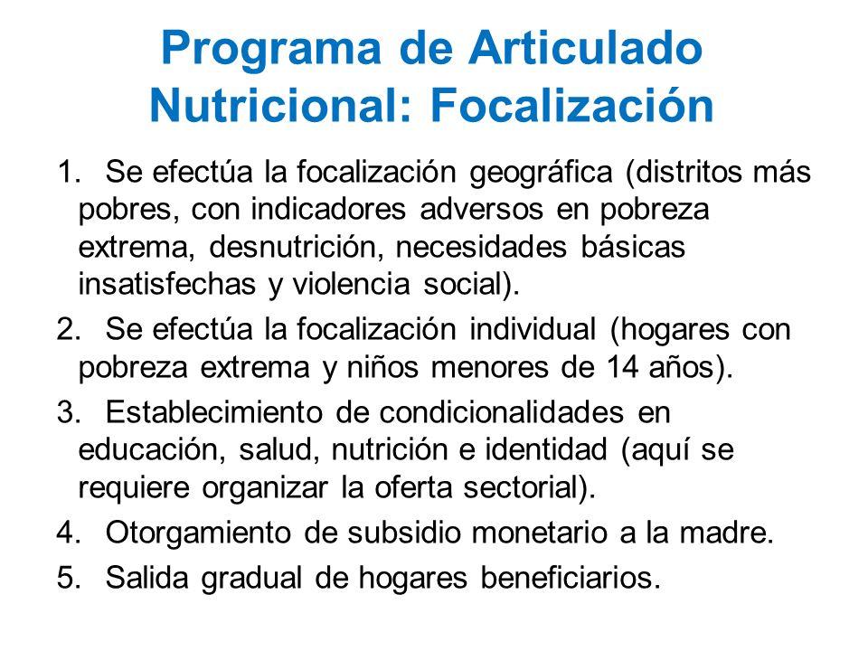 Programa de Articulado Nutricional: Focalización