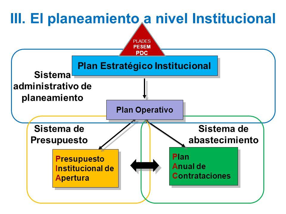 III. El planeamiento a nivel Institucional