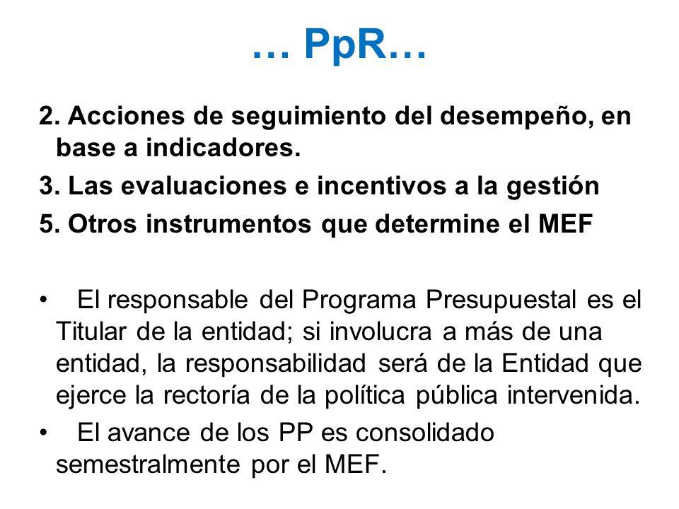 … PpR…2. Acciones de seguimiento del desempeño, en base a indicadores. 3. Las evaluaciones e incentivos a la gestión.