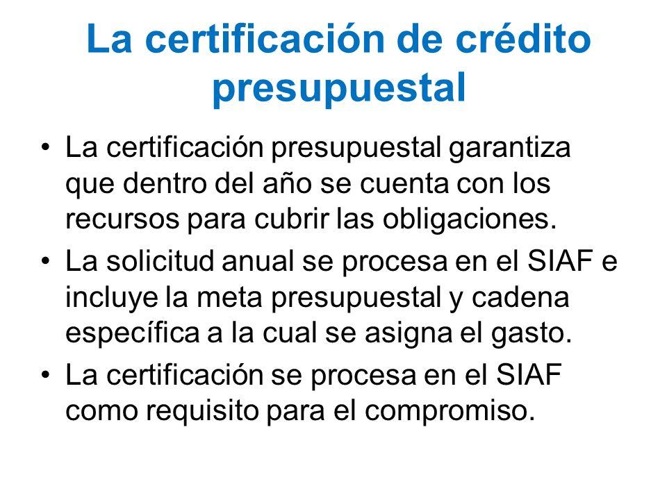 La certificación de crédito presupuestal