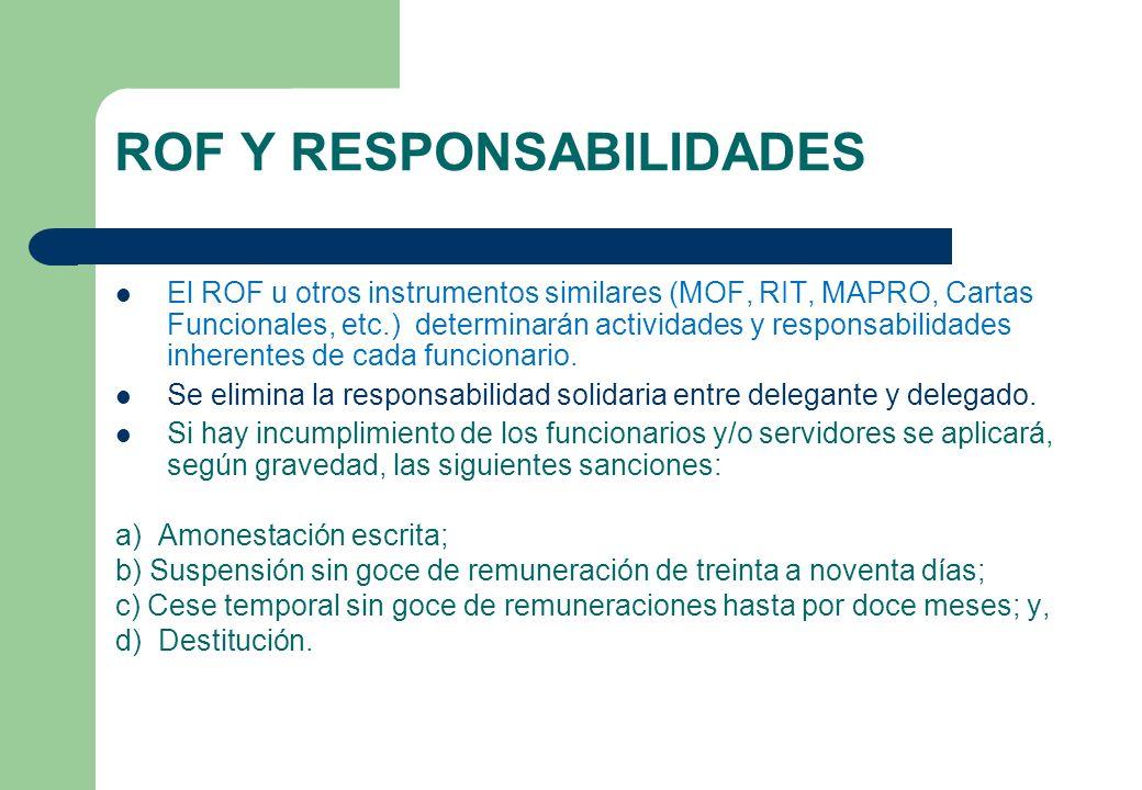 ROF Y RESPONSABILIDADES