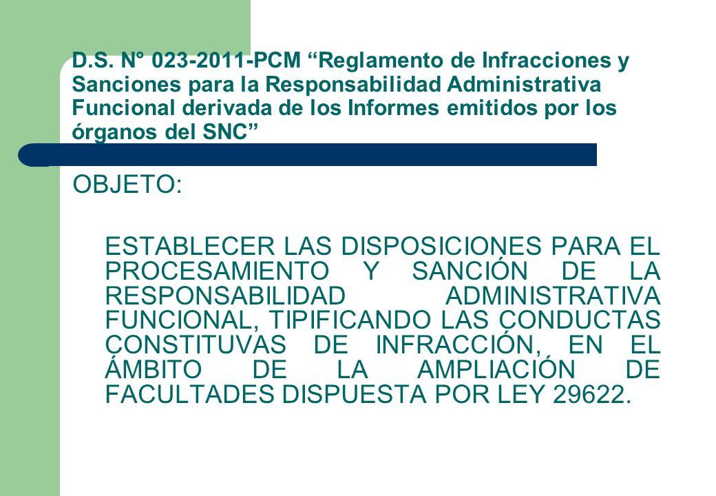 D.S. N° 023-2011-PCM Reglamento de Infracciones y Sanciones para la Responsabilidad Administrativa Funcional derivada de los Informes emitidos por los órganos del SNC