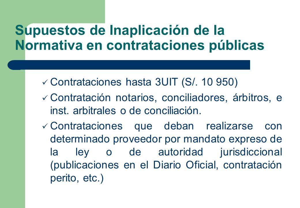 Supuestos de Inaplicación de la Normativa en contrataciones públicas