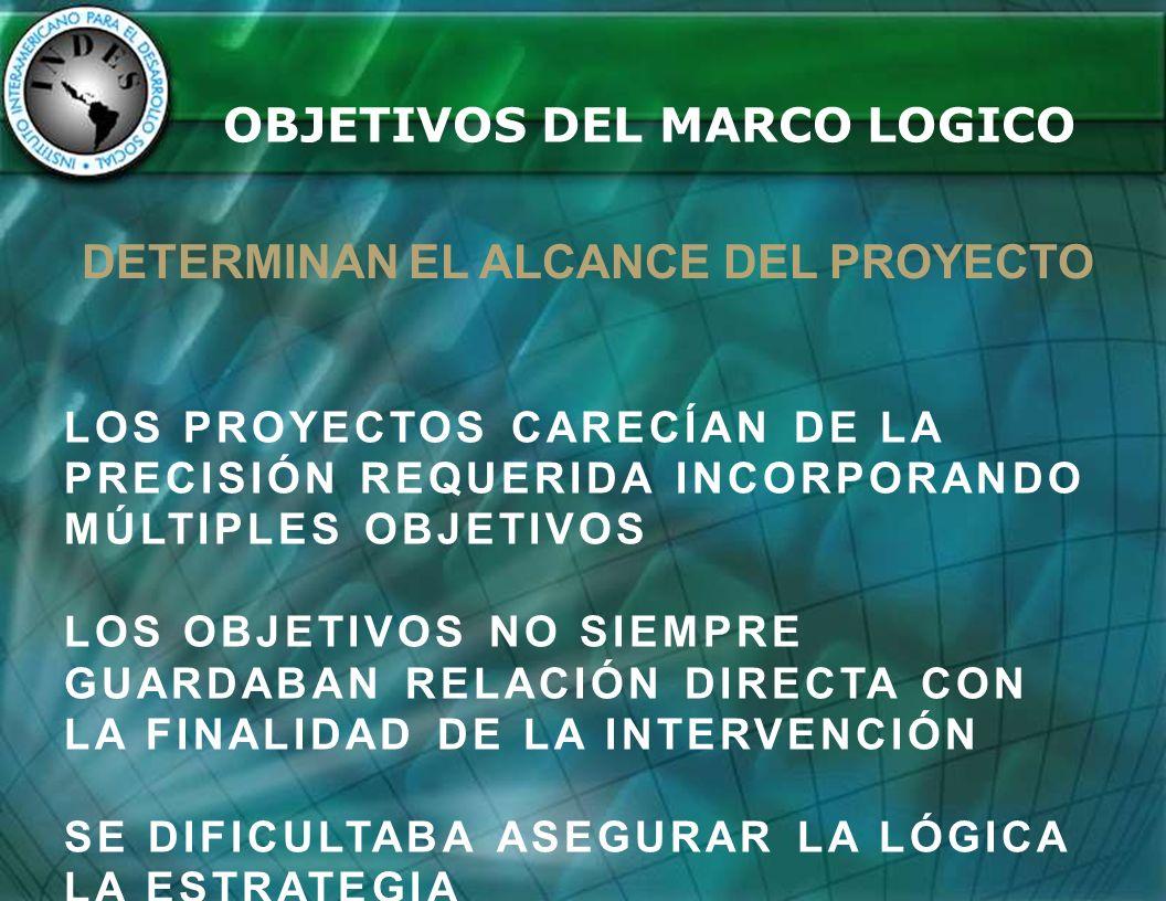 OBJETIVOS DEL MARCO LOGICO DETERMINAN EL ALCANCE DEL PROYECTO
