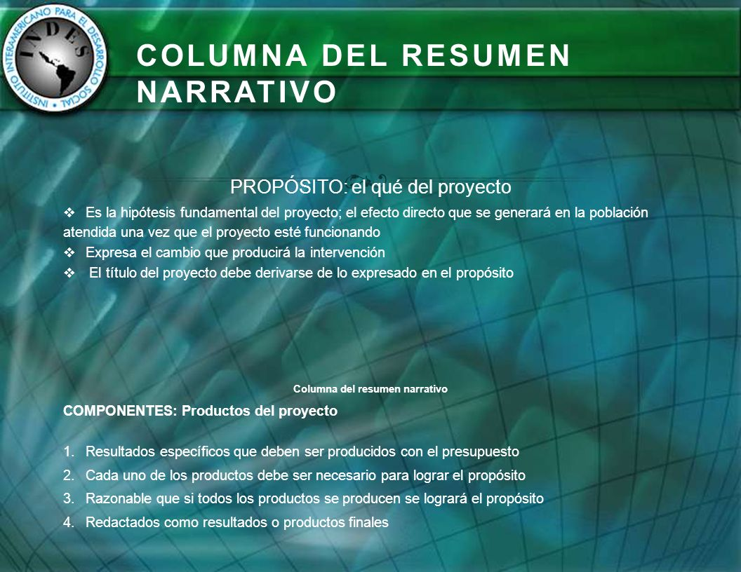 Columna del Resumen Narrativo