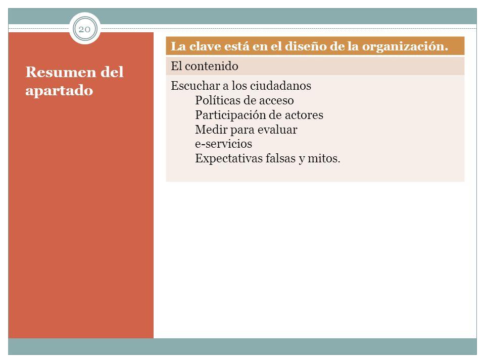 Resumen del apartado La clave está en el diseño de la organización.