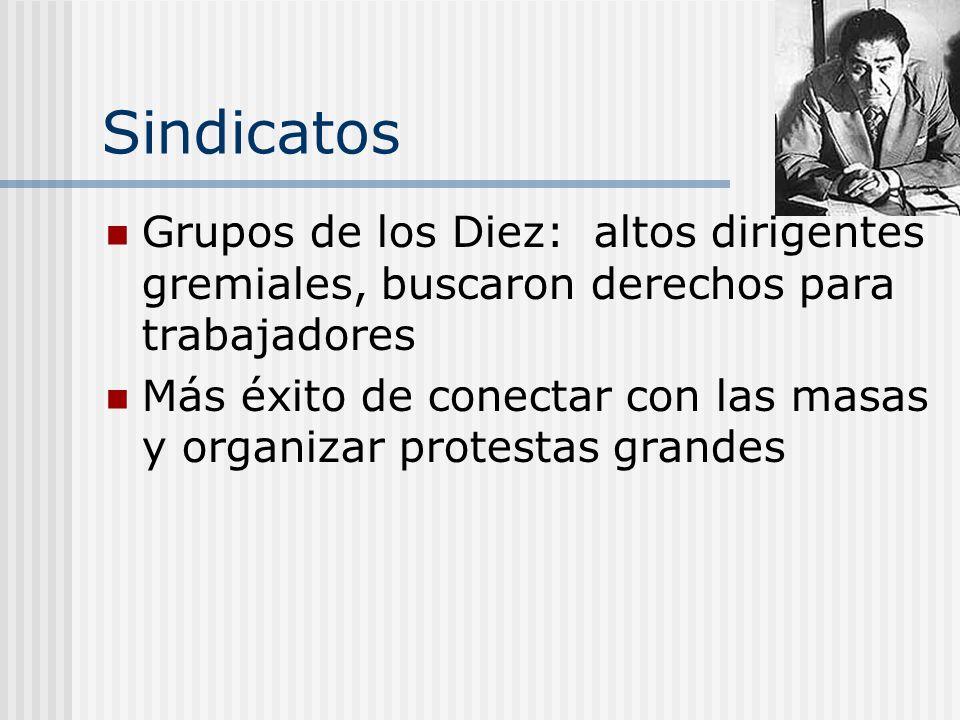 Sindicatos Grupos de los Diez: altos dirigentes gremiales, buscaron derechos para trabajadores.