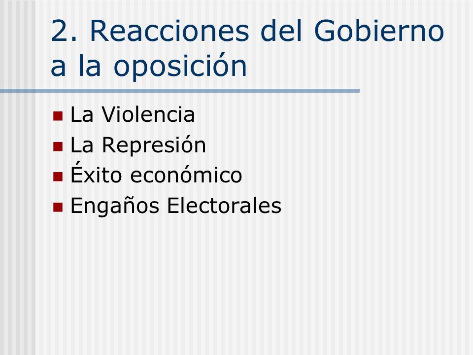 2. Reacciones del Gobierno a la oposición