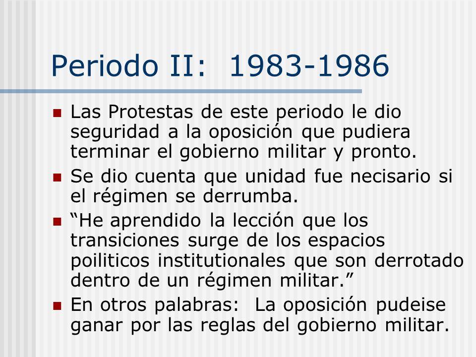 Periodo II: 1983-1986 Las Protestas de este periodo le dio seguridad a la oposición que pudiera terminar el gobierno militar y pronto.