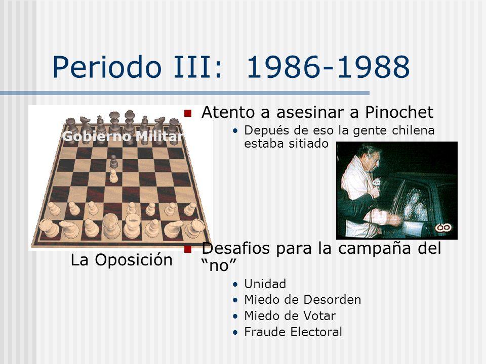 Periodo III: 1986-1988 Atento a asesinar a Pinochet