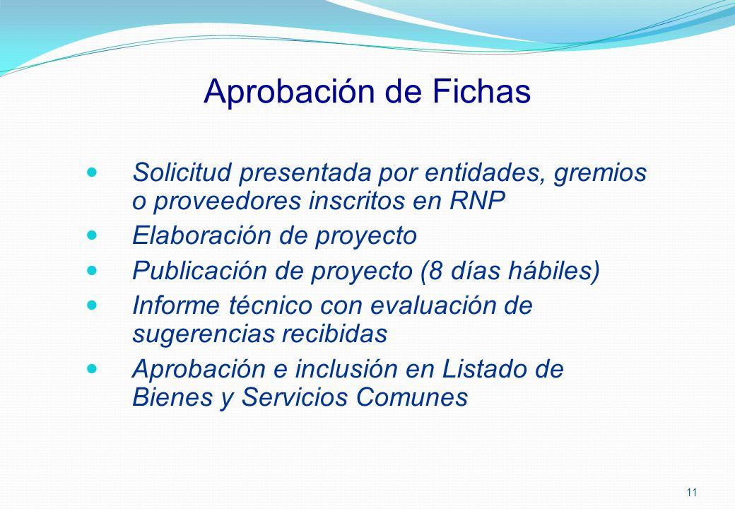 Aprobación de Fichas Solicitud presentada por entidades, gremios o proveedores inscritos en RNP. Elaboración de proyecto.