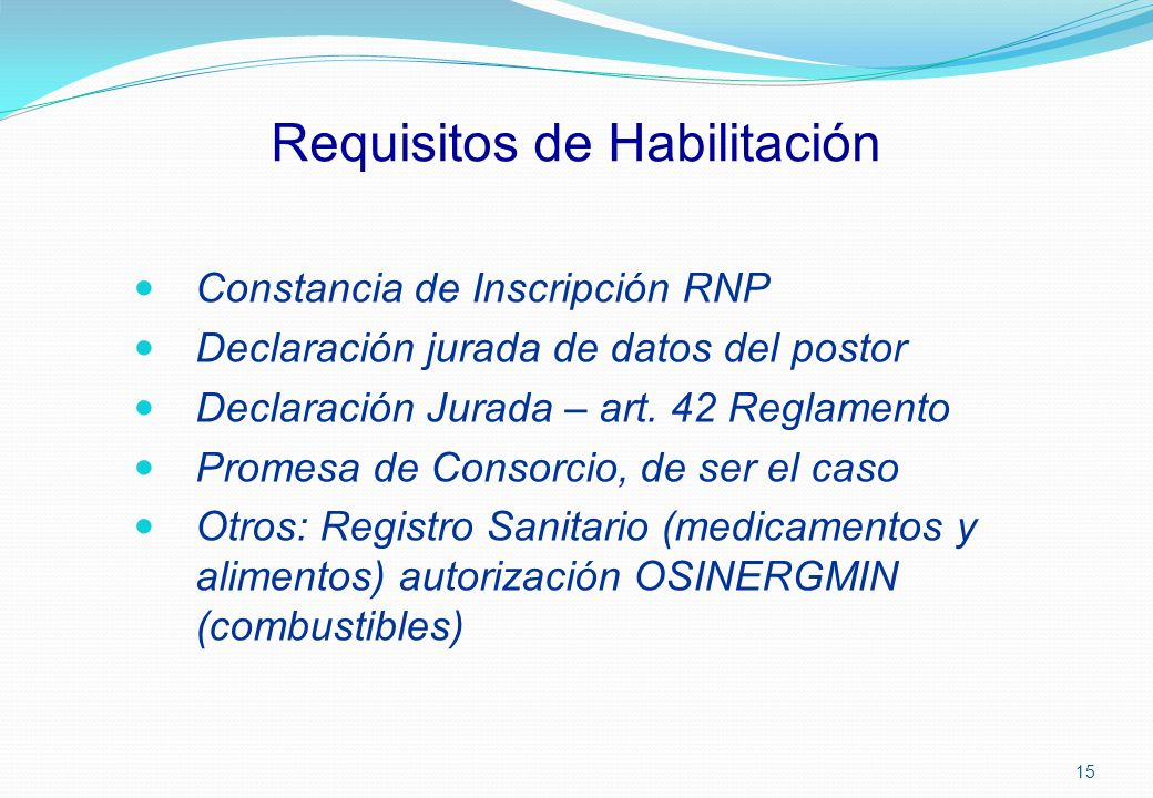 Requisitos de Habilitación