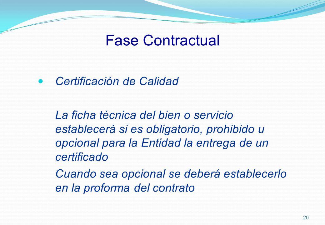 Fase Contractual Certificación de Calidad