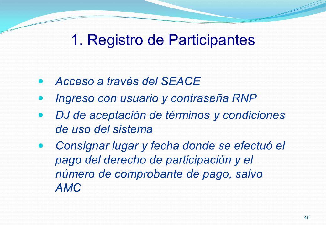 1. Registro de Participantes