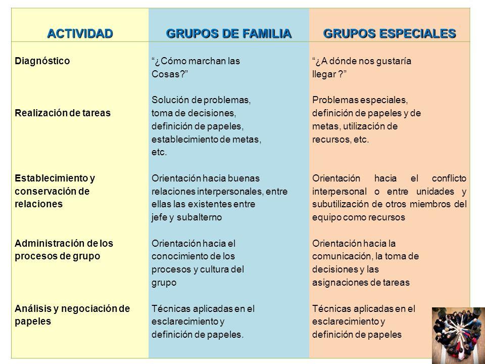 ACTIVIDAD GRUPOS DE FAMILIA GRUPOS ESPECIALES
