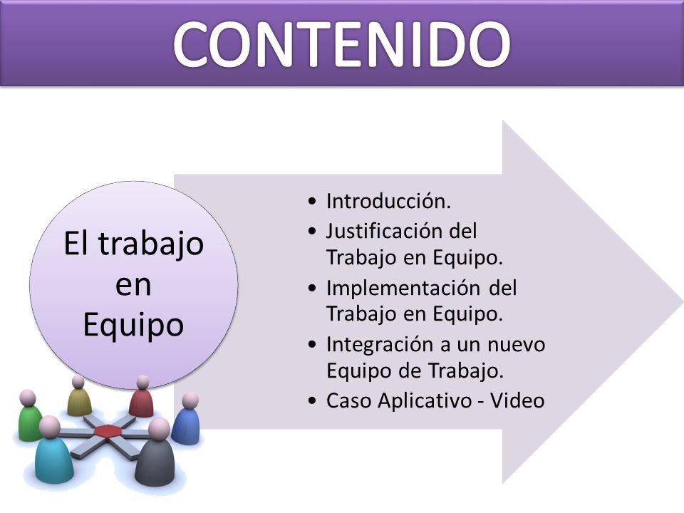 CONTENIDO El trabajo en Equipo Introducción.
